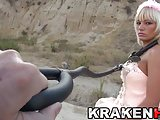 Krakenhot - Cute bride Estefani Tarrago in outdoor submision