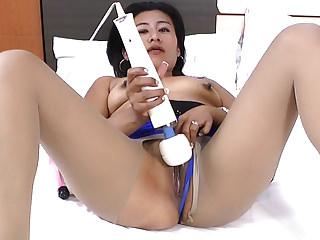 Milfs Latin Mom video: Latina and pantyhosed milf Veronica puts sex toys to work
