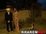 Krakenhot – Redhead Milfwith a masked man outdoor nudity-Homemade Amateur Video