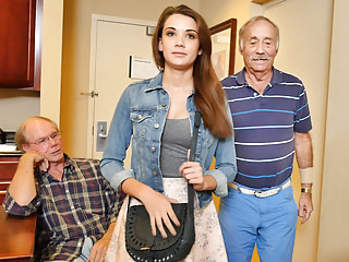 Blowjobs Teens porno: Teen Naomi Alice Has Threesome With Grandpas
