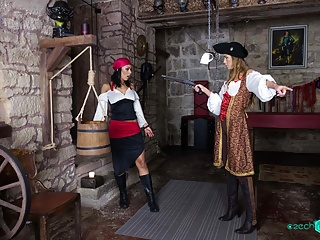 Two scurvy pirate chicks need to calm the tides inside of their snatches