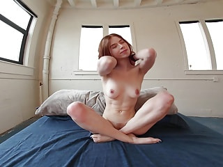 Skinny filly lost something inside of her fuck hole and searches for it with fingers