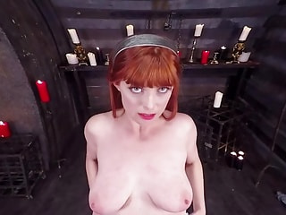 Big-titted redhead bimbo works with her mouth on your impregnation device