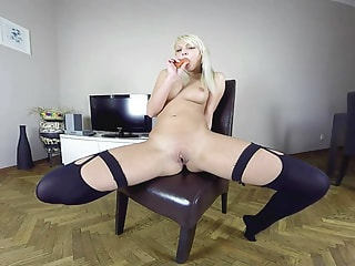 Naughty blonde gets her pussy so wet that you could literally take swimming classes inside of it