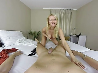 Hot blondie wants to swallow your man meat whole