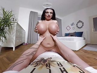 german milf Sandra Sturm with extreme oiled monster juggs sucks fat cock
