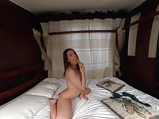 Fucking Her Banana Makes Her Cum Like Wildfire - Shaved Teen Fucks Fruit