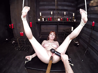 Stretch the Asshole of a Busty Redhead in Bondage
