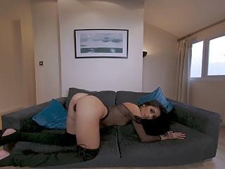 Booty Shaking Brunette Chick in a Fishnet Bodysuit