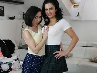 Bad Girls in Pleated Skirts Love Lesbian Fisting