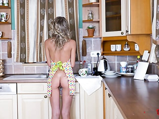 Skinny Blonde Cutie Does the Dishes in an Apron
